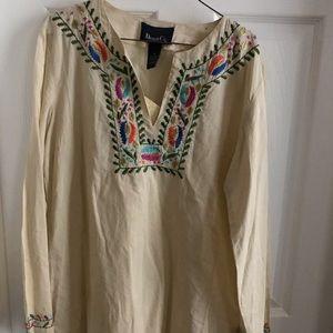NWT X-small Denim & Co cotton Beige & green tunic